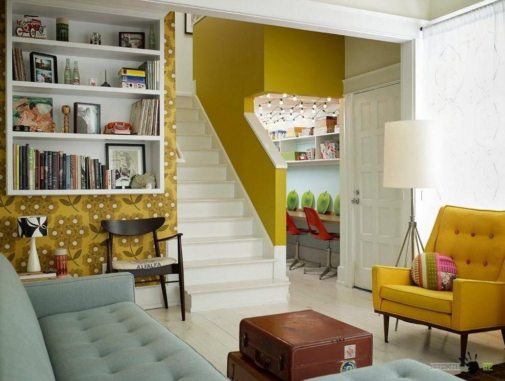 Beautiful-living-room-interior-with-lovely-yellow-floral-wallpaper-and-tufted-seats-along-with-yellow-color-in-the-stairwell-also-sheer-window-curtain-decoration